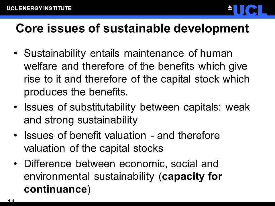 Core issues of sustainable development