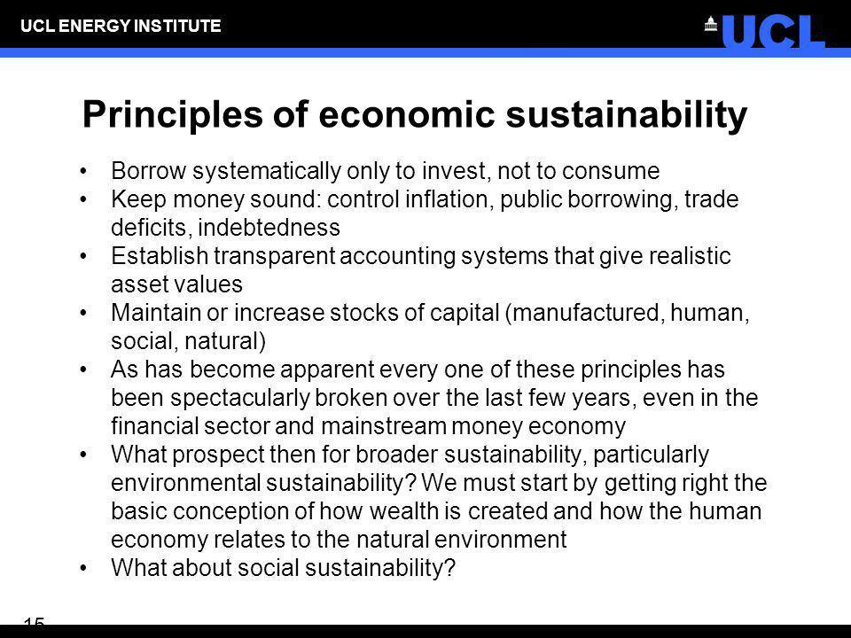 Principles of economic sustainability