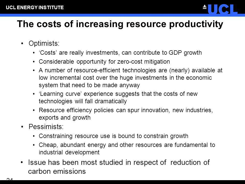 The costs of increasing resource productivity