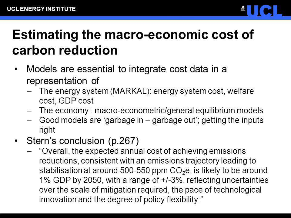 Estimating the macro-economic cost of carbon reduction