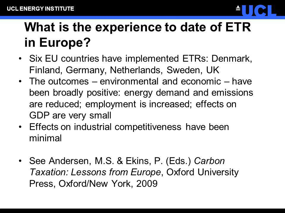 What is the experience to date of ETR in Europe
