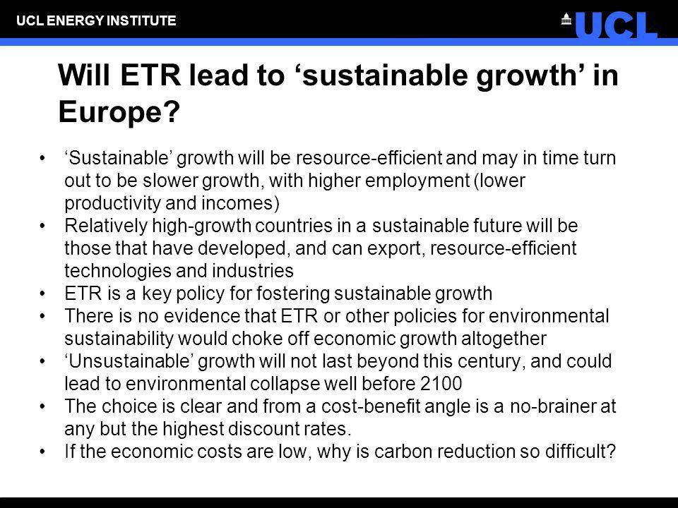 Will ETR lead to 'sustainable growth' in Europe