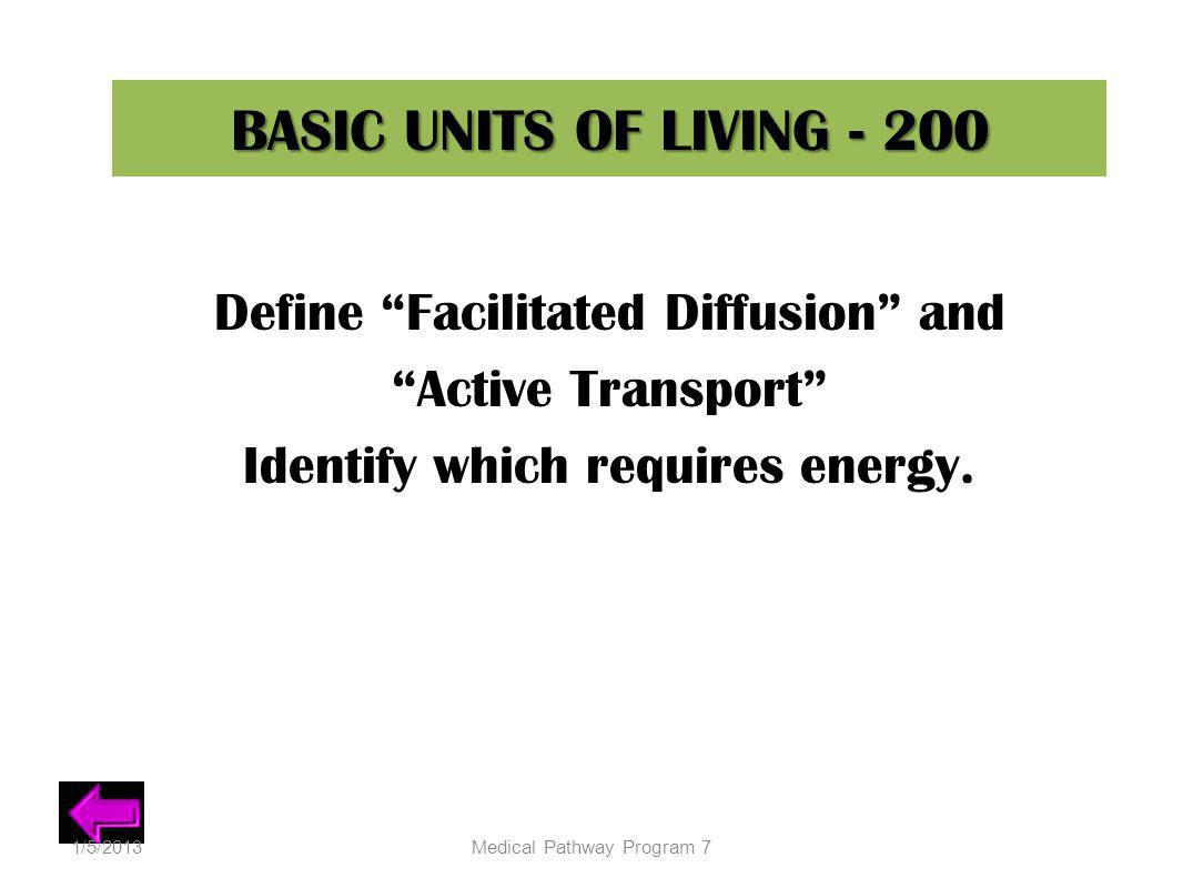 BASIC UNITS OF LIVING - 200 Define Facilitated Diffusion and