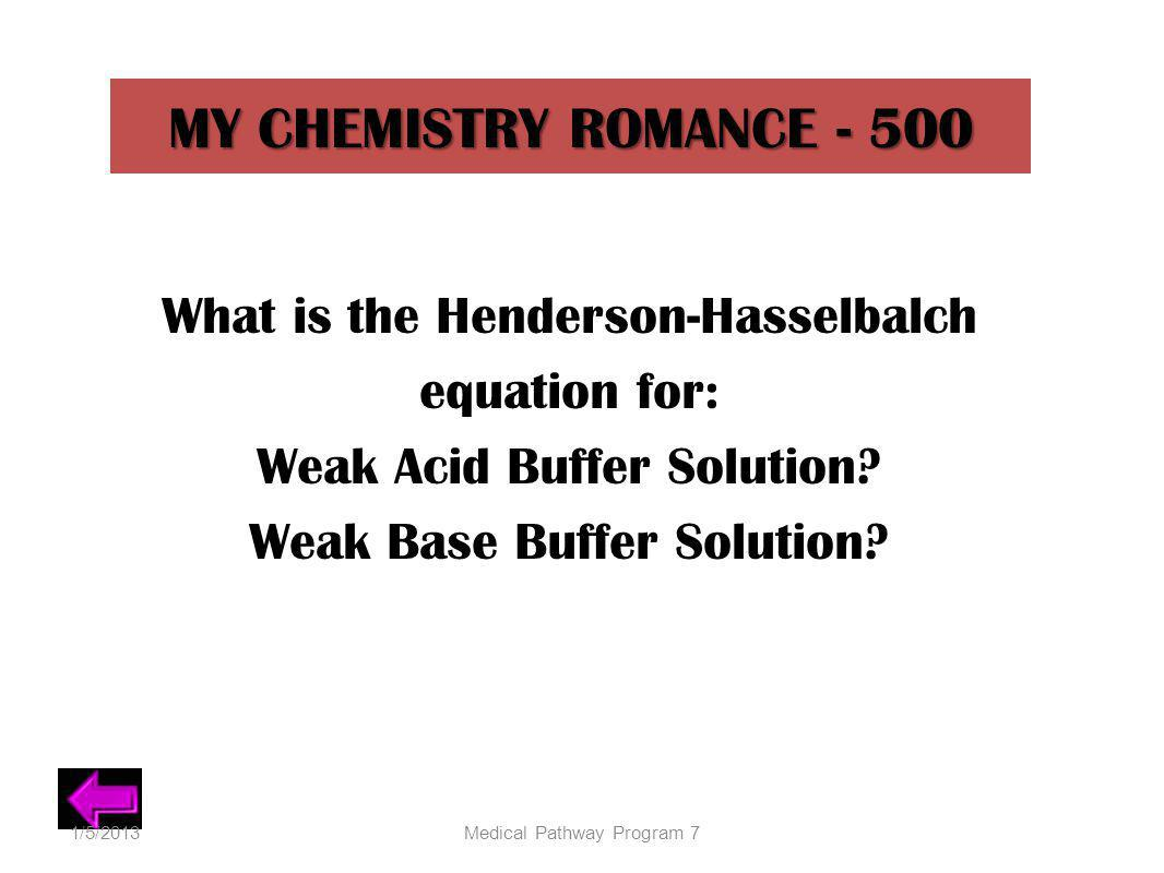 MY CHEMISTRY ROMANCE - 500 What is the Henderson-Hasselbalch