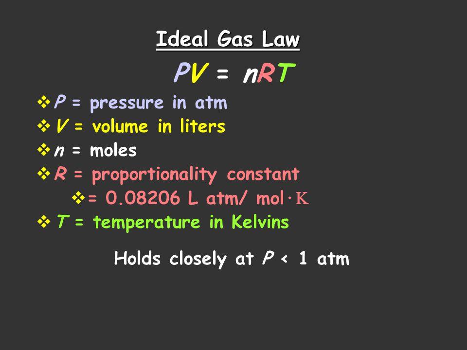 PV = nRT Ideal Gas Law P = pressure in atm V = volume in liters