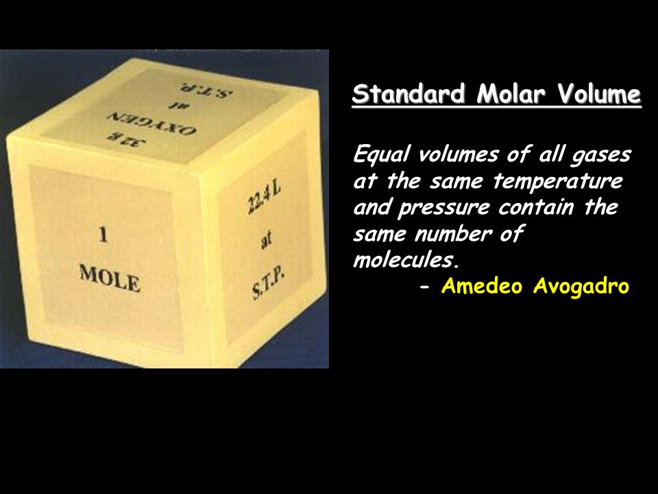 Standard Molar Volume Equal volumes of all gases at the same temperature and pressure contain the same number of molecules.