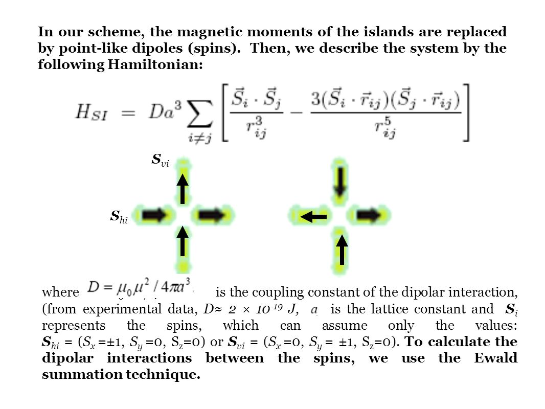 In our scheme, the magnetic moments of the islands are replaced by point-like dipoles (spins). Then, we describe the system by the following Hamiltonian: