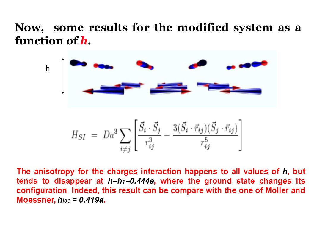 Now, some results for the modified system as a function of h.