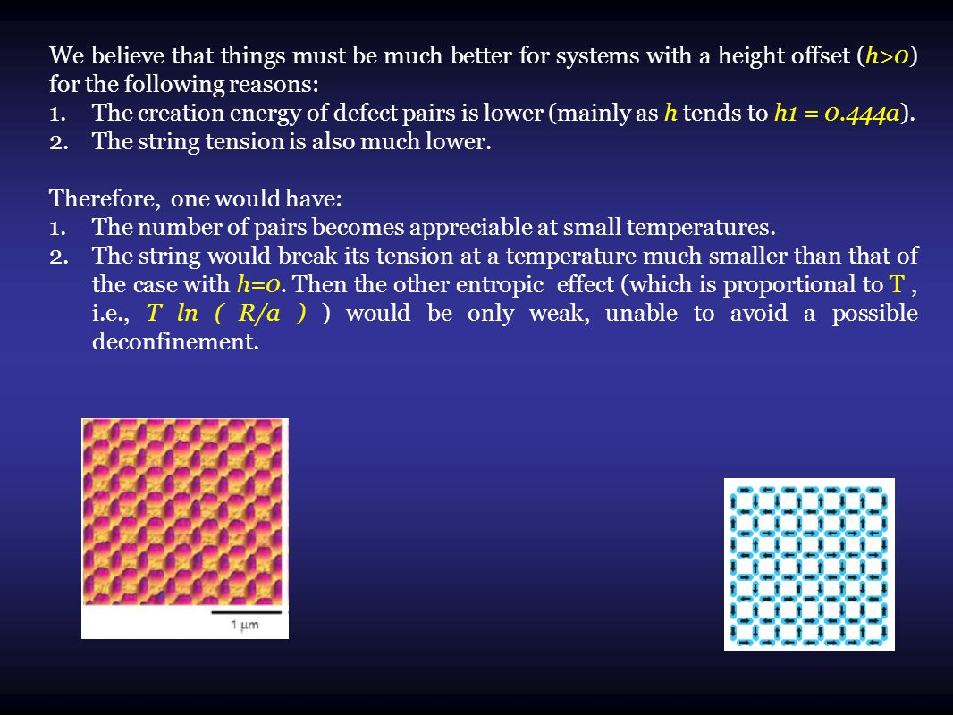We believe that things must be much better for systems with a height offset (h>0) for the following reasons: