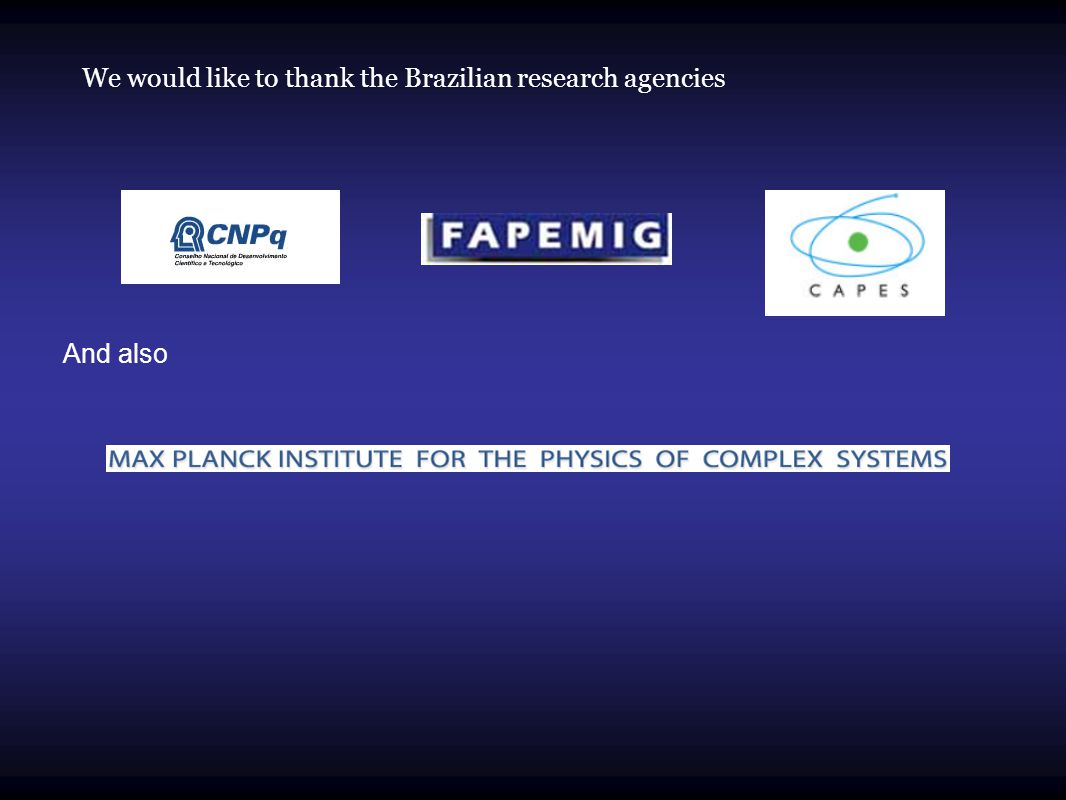 We would like to thank the Brazilian research agencies