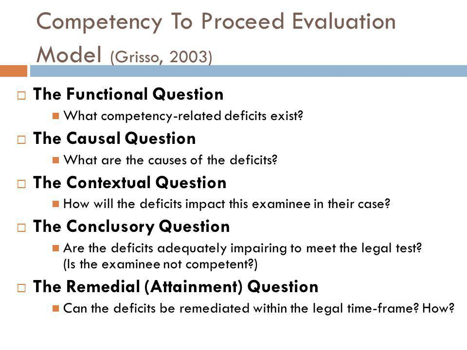 Competency To Proceed Evaluation Model (Grisso, 2003)