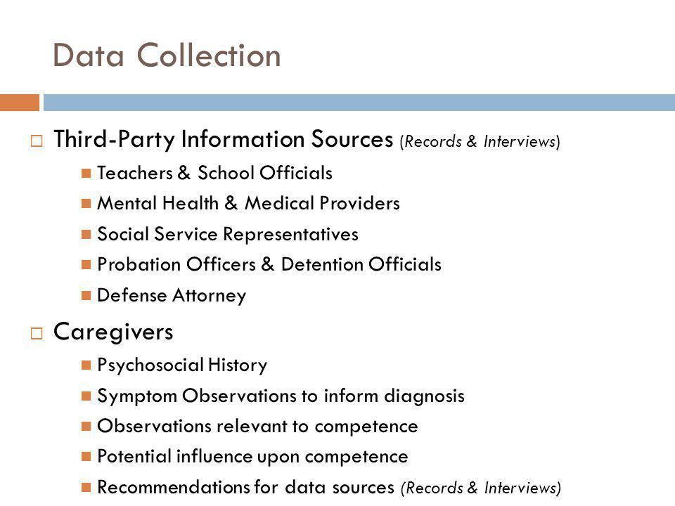 Data Collection Third-Party Information Sources (Records & Interviews)