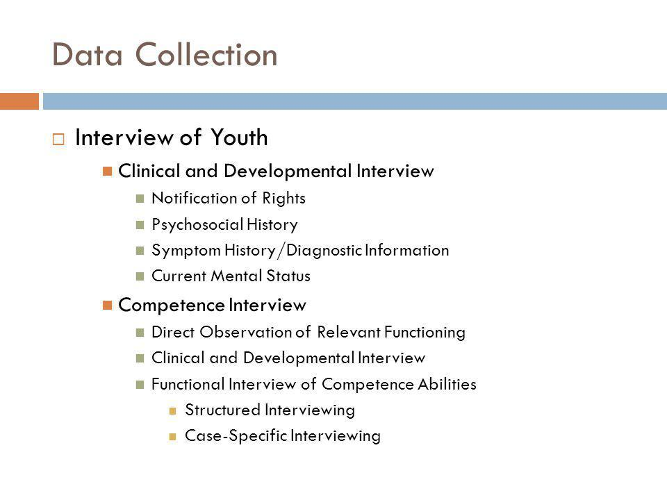 Data Collection Interview of Youth STATUS