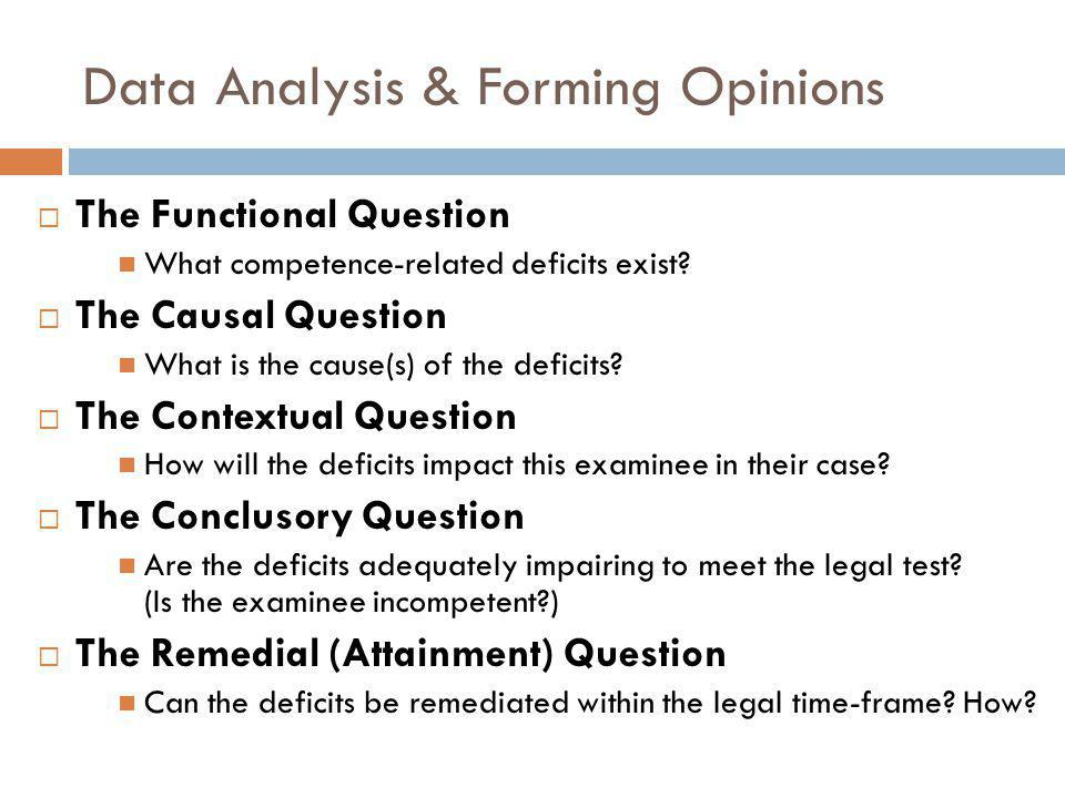 Data Analysis & Forming Opinions