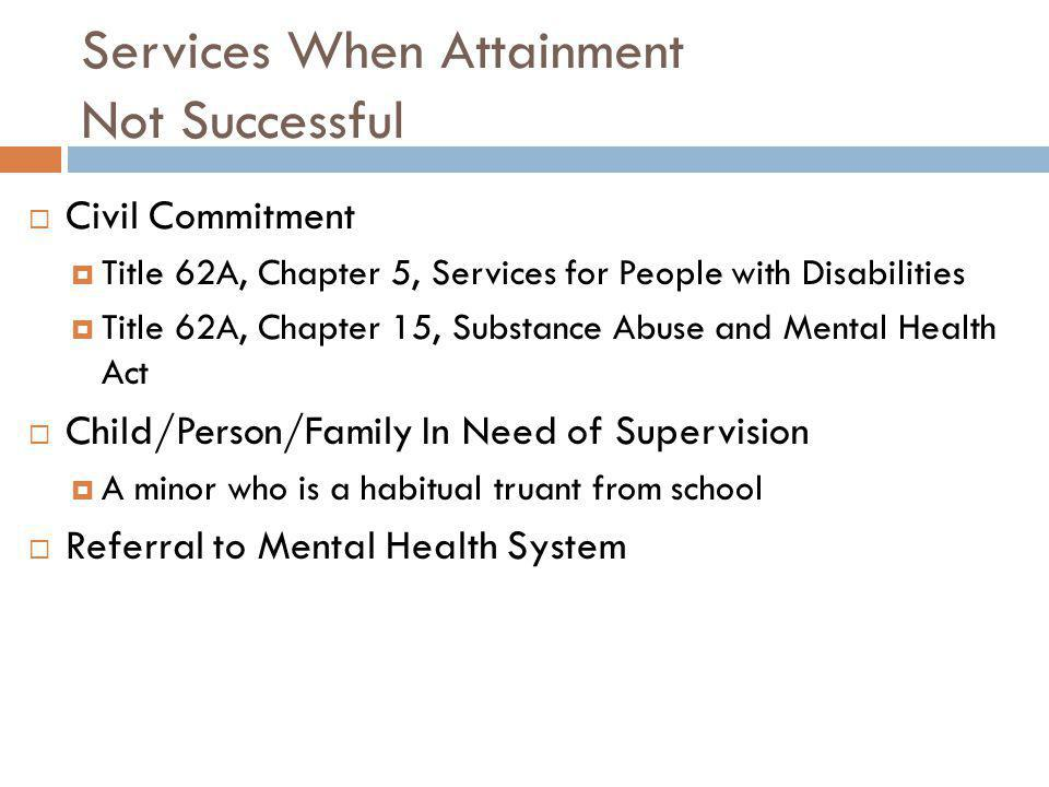 Services When Attainment Not Successful