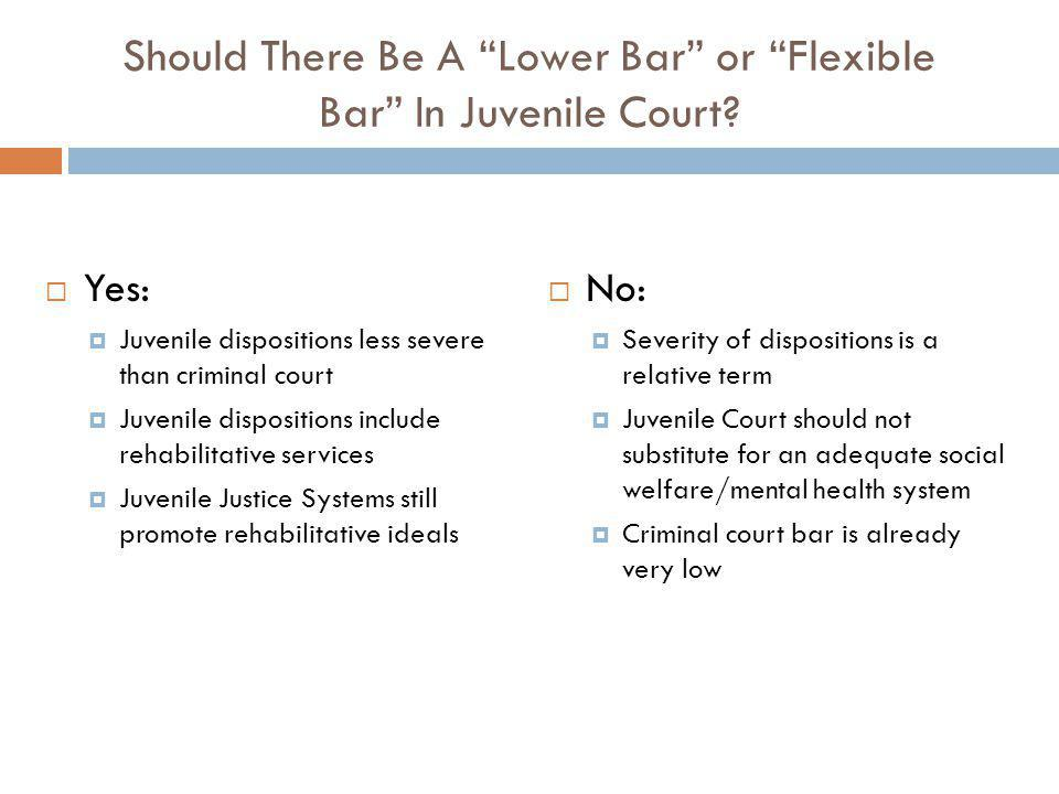 Should There Be A Lower Bar or Flexible Bar In Juvenile Court