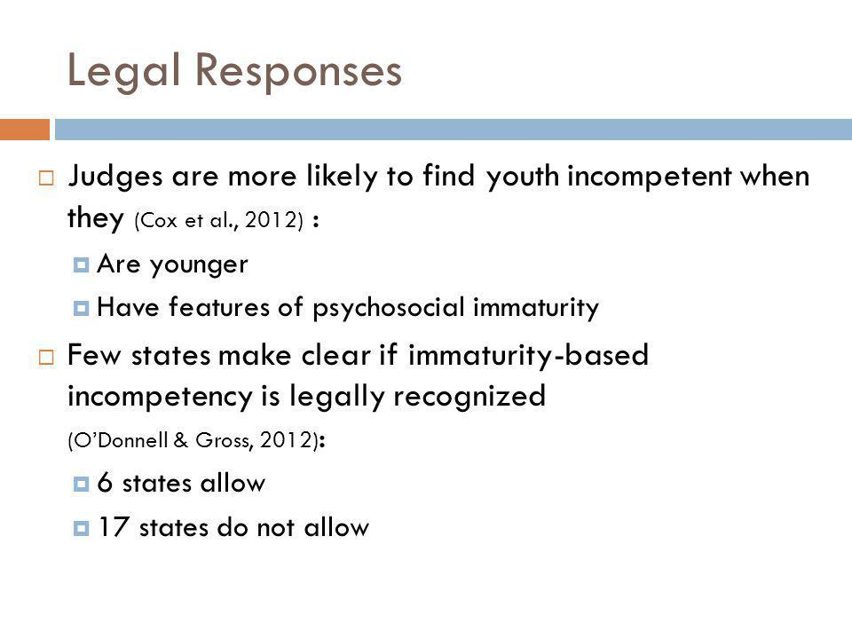 Legal Responses Judges are more likely to find youth incompetent when they (Cox et al., 2012) : Are younger.