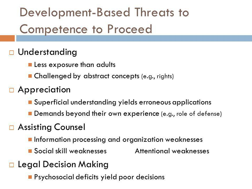 Development-Based Threats to Competence to Proceed
