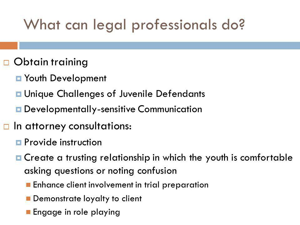 What can legal professionals do