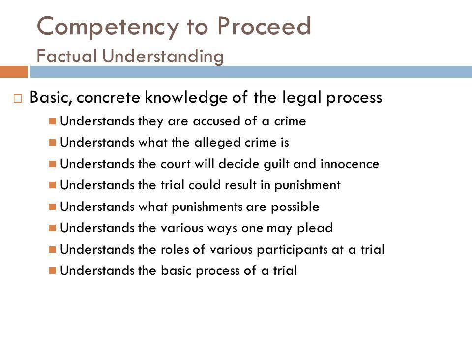 Competency to Proceed Factual Understanding