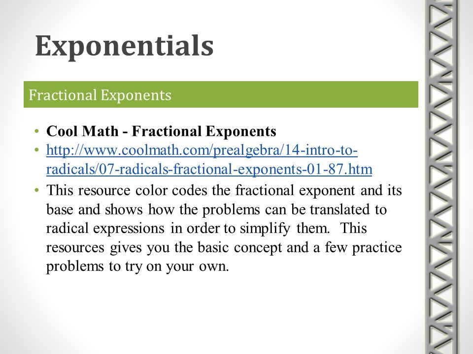 Exponentials Fractional Exponents Cool Math - Fractional Exponents