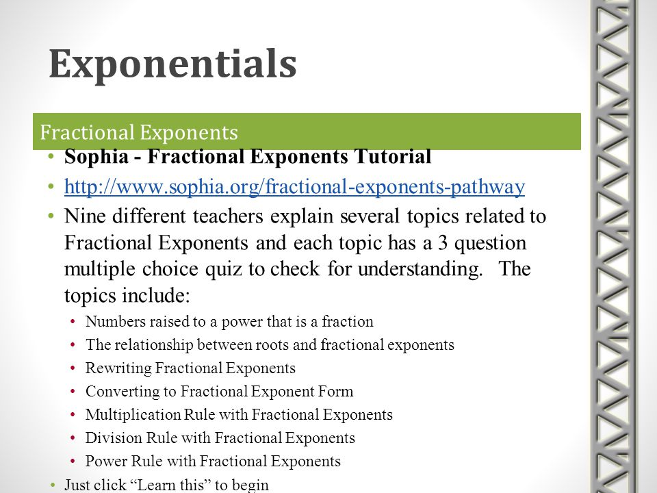 Exponentials Fractional Exponents