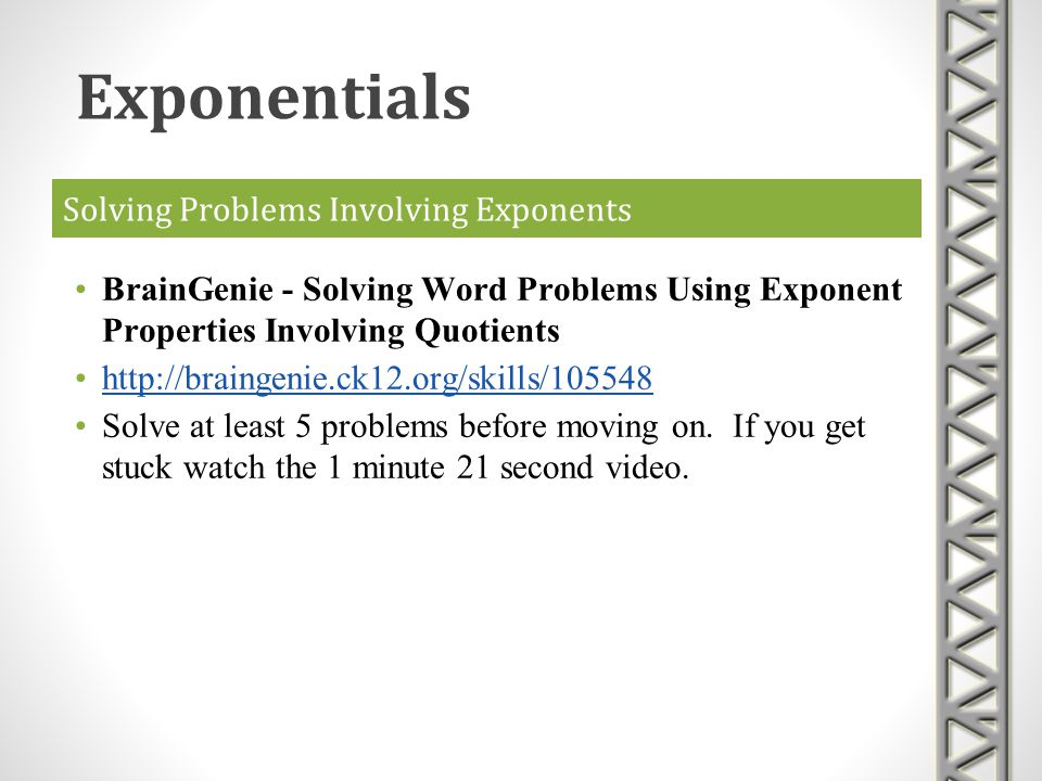Solving Problems Involving Exponents