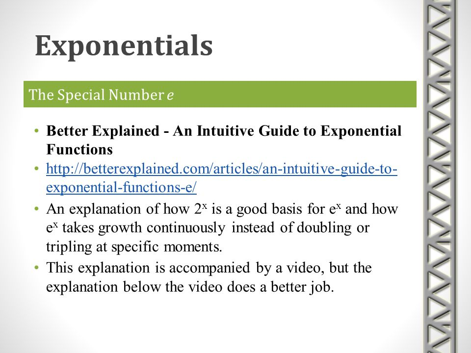 Exponentials The Special Number e