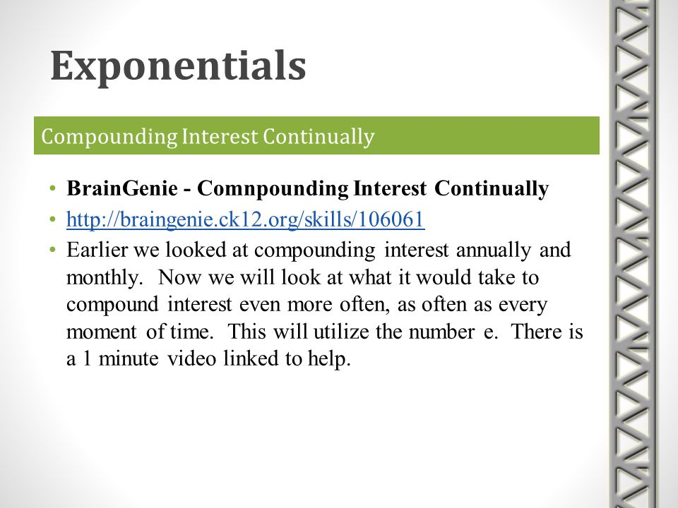 Compounding Interest Continually