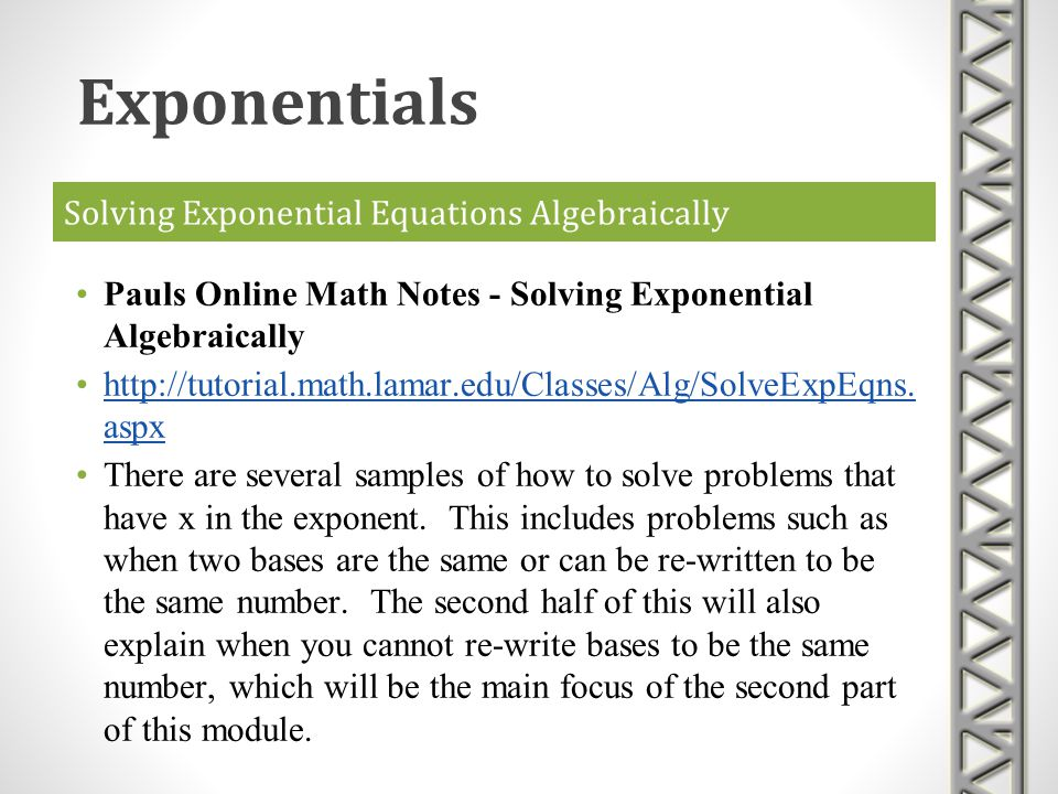Solving Exponential Equations Algebraically