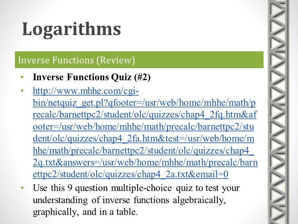 Inverse Functions (Review)