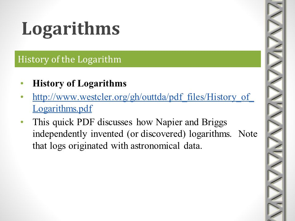 History of the Logarithm