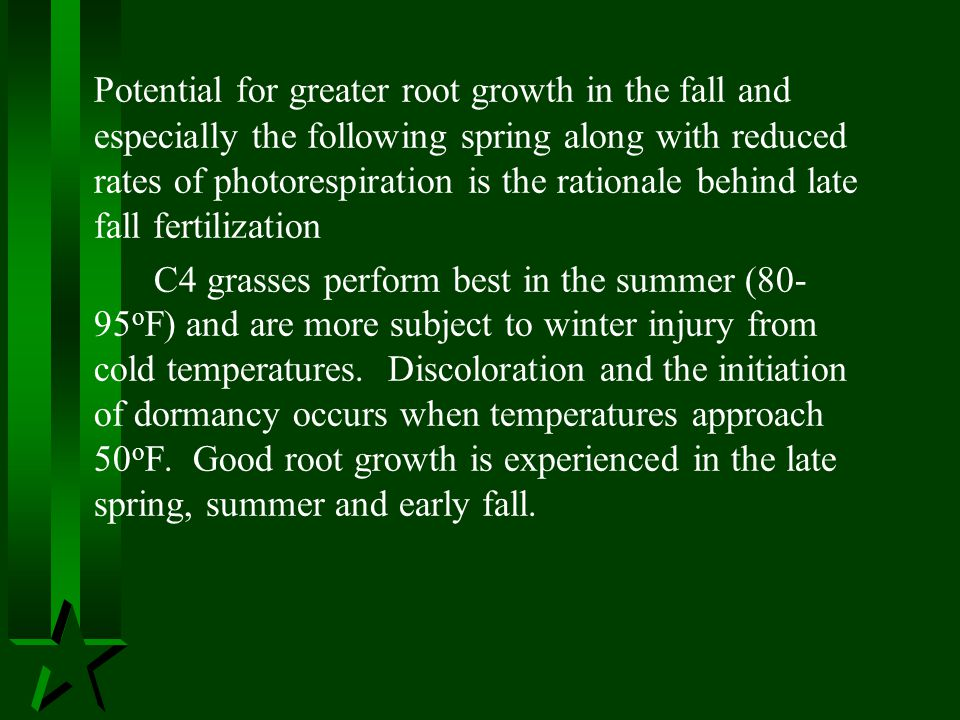 Potential for greater root growth in the fall and especially the following spring along with reduced rates of photorespiration is the rationale behind late fall fertilization
