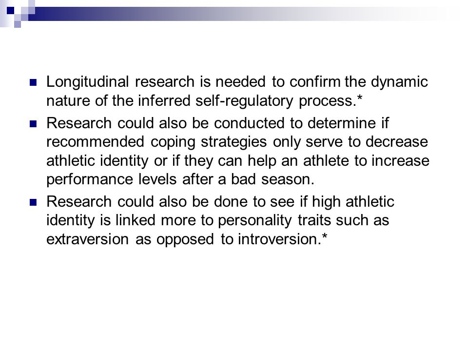 Longitudinal research is needed to confirm the dynamic nature of the inferred self-regulatory process.*
