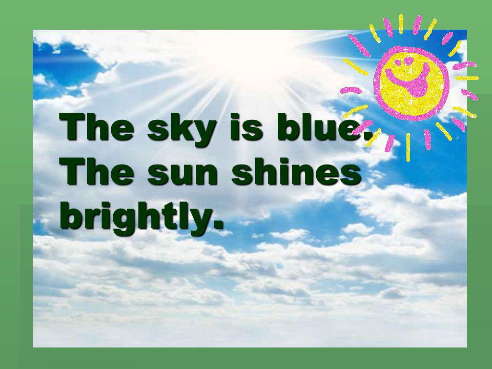 The sky is blue. The sun shines brightly.