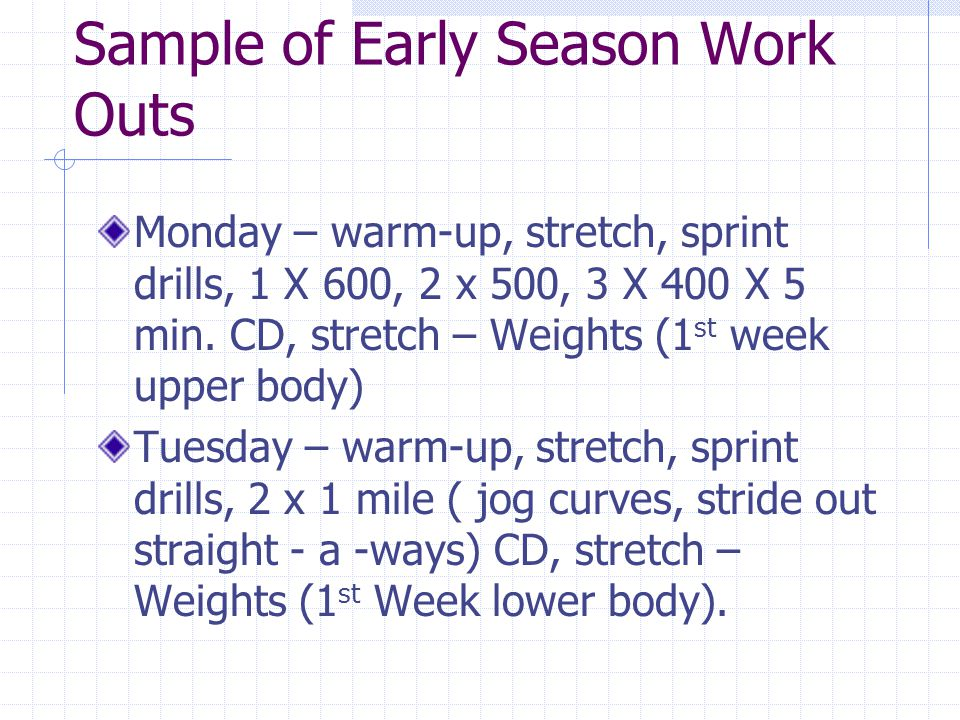 Sample of Early Season Work Outs