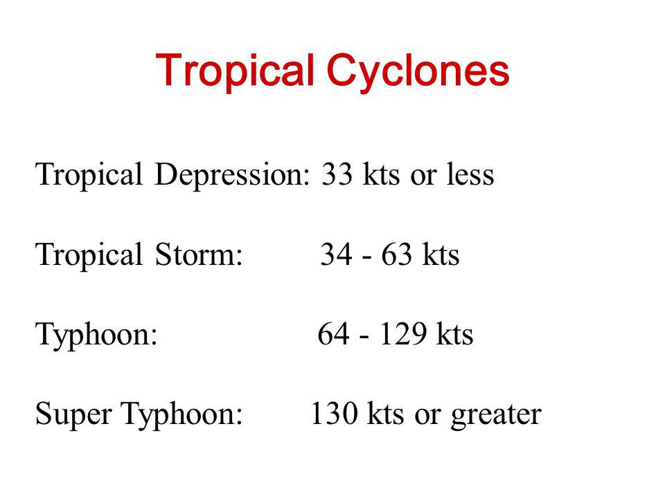 Tropical Cyclones Tropical Depression: 33 kts or less
