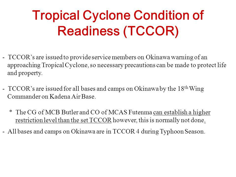 Tropical Cyclone Condition of Readiness (TCCOR)