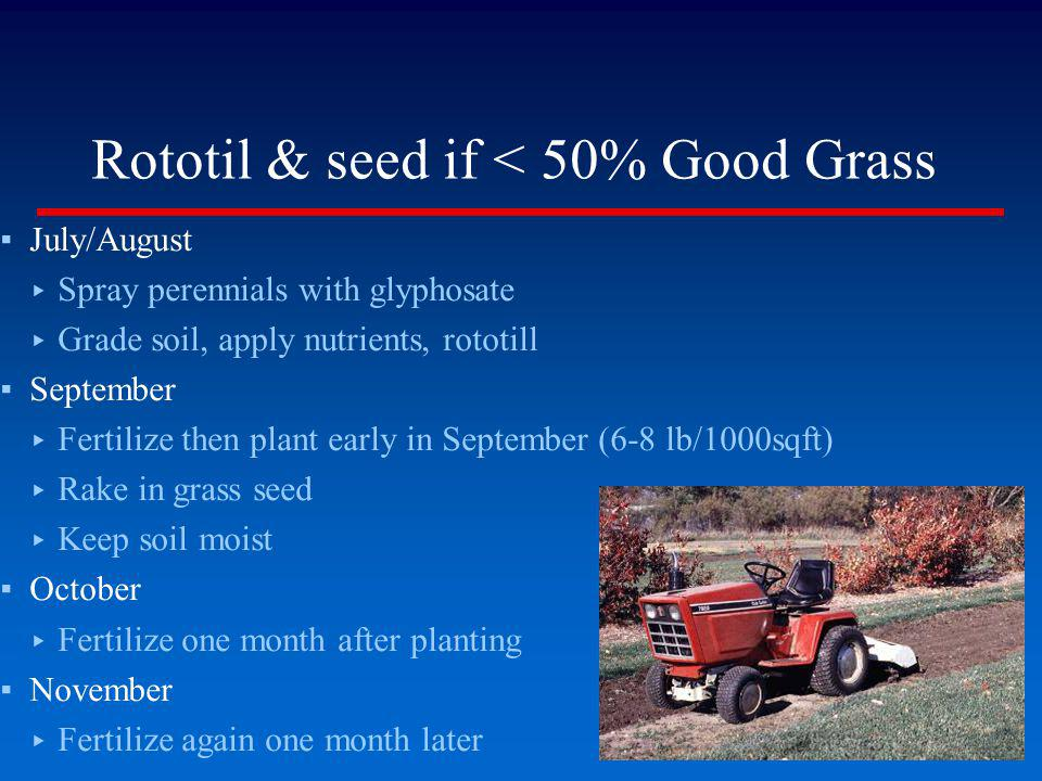 Rototil & seed if < 50% Good Grass