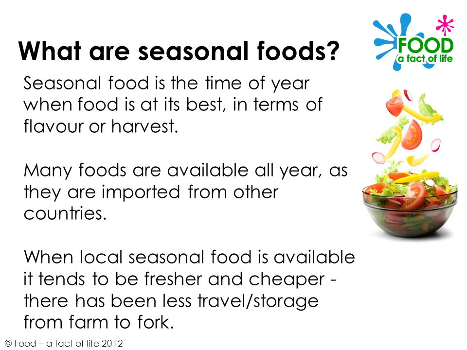 What are seasonal foods