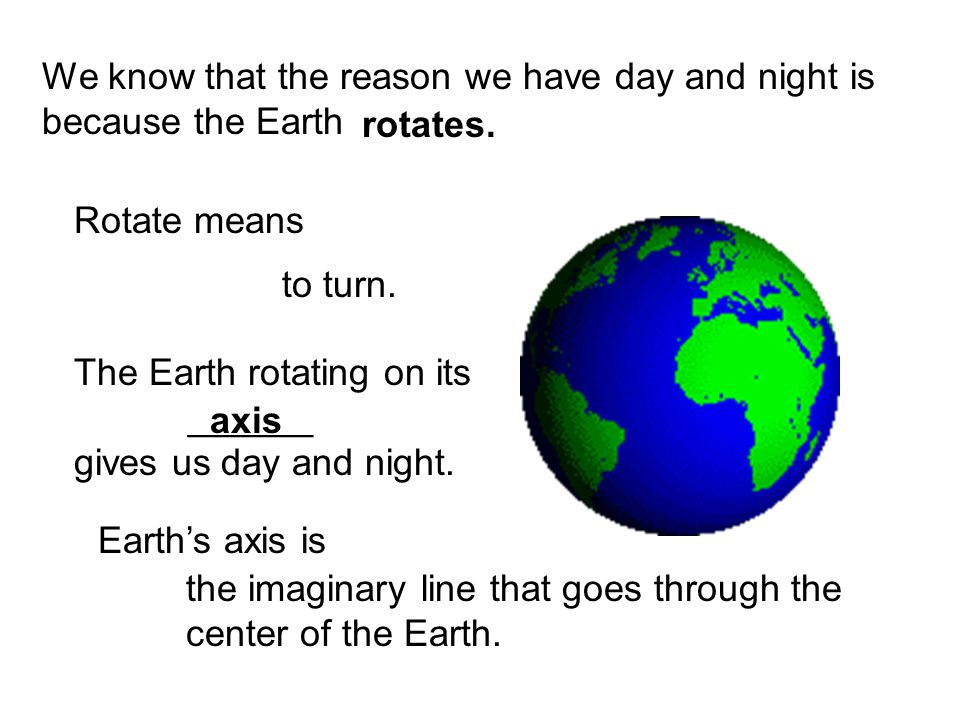 We know that the reason we have day and night is because the Earth