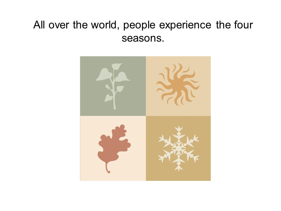 All over the world, people experience the four seasons.