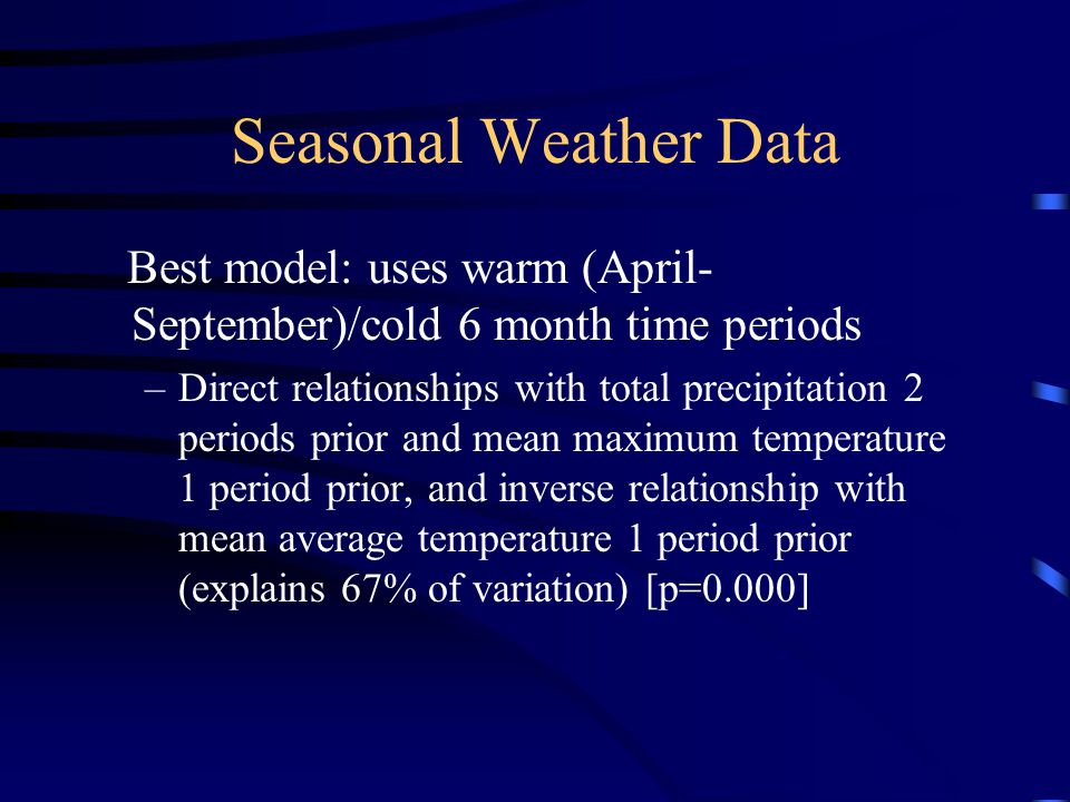 Seasonal Weather Data Best model: uses warm (April-September)/cold 6 month time periods.