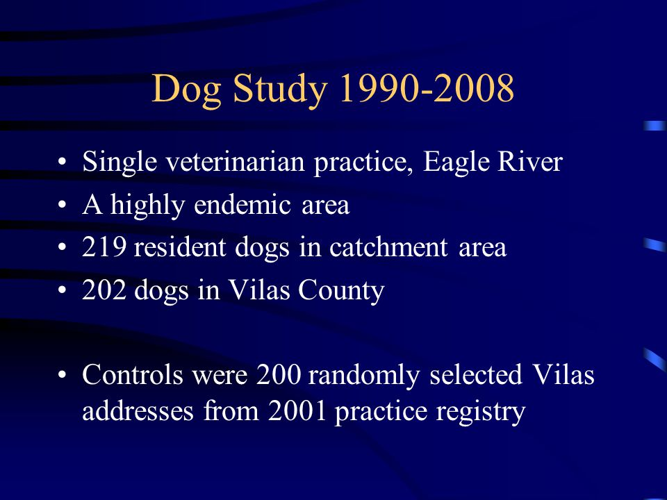 Dog Study 1990-2008 Single veterinarian practice, Eagle River