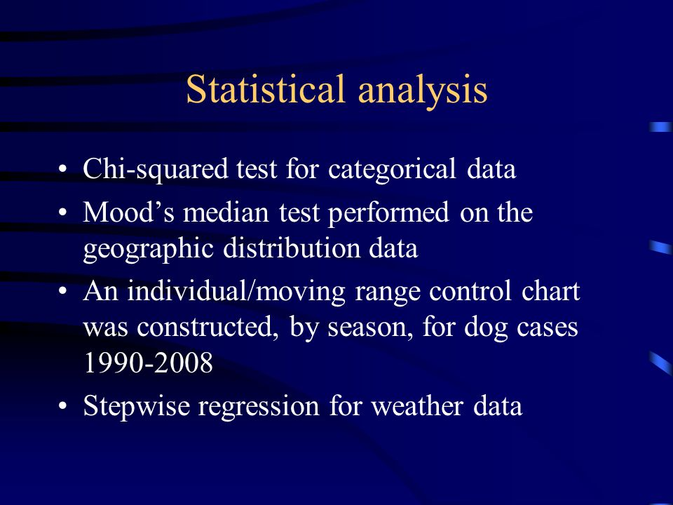 Statistical analysis Chi-squared test for categorical data
