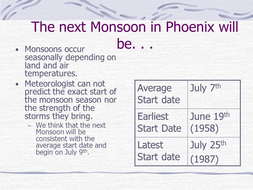 The next Monsoon in Phoenix will be. . .