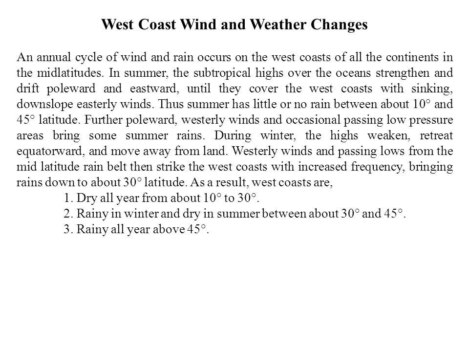 West Coast Wind and Weather Changes