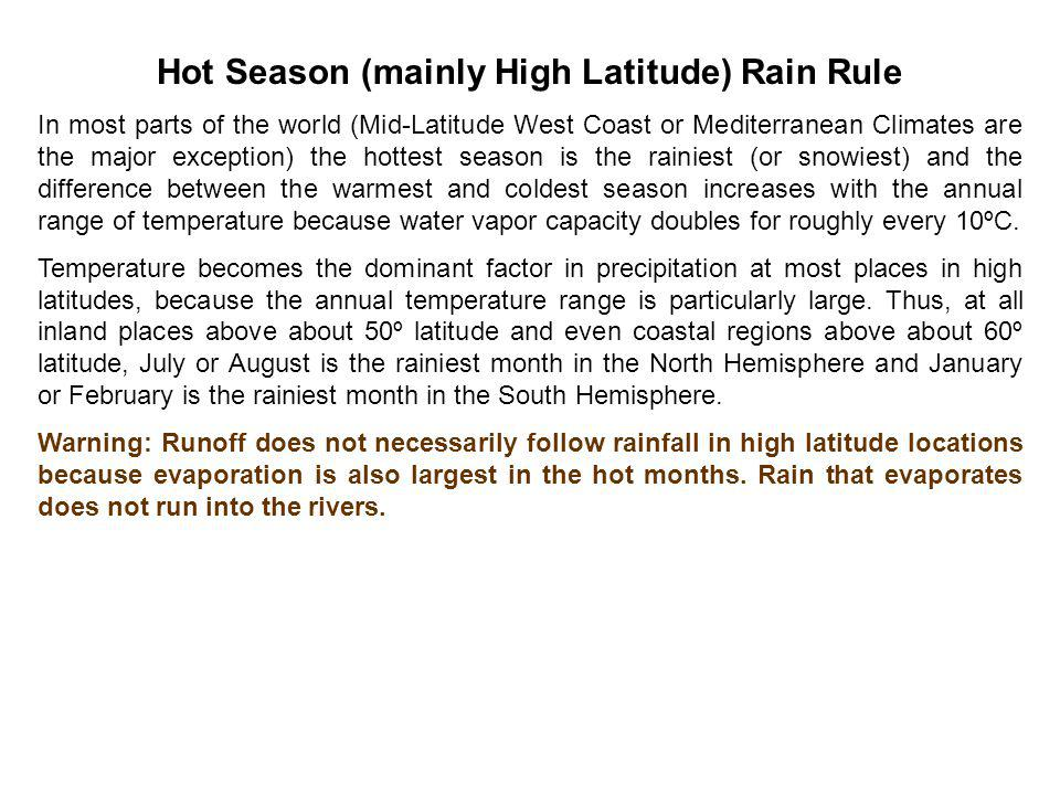 Hot Season (mainly High Latitude) Rain Rule