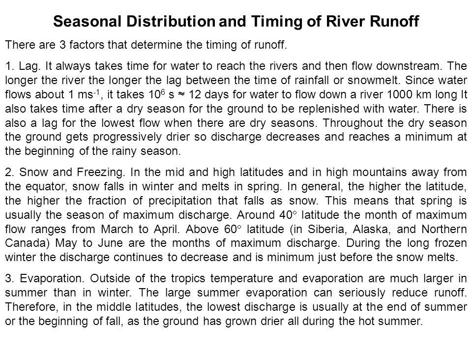 Seasonal Distribution and Timing of River Runoff