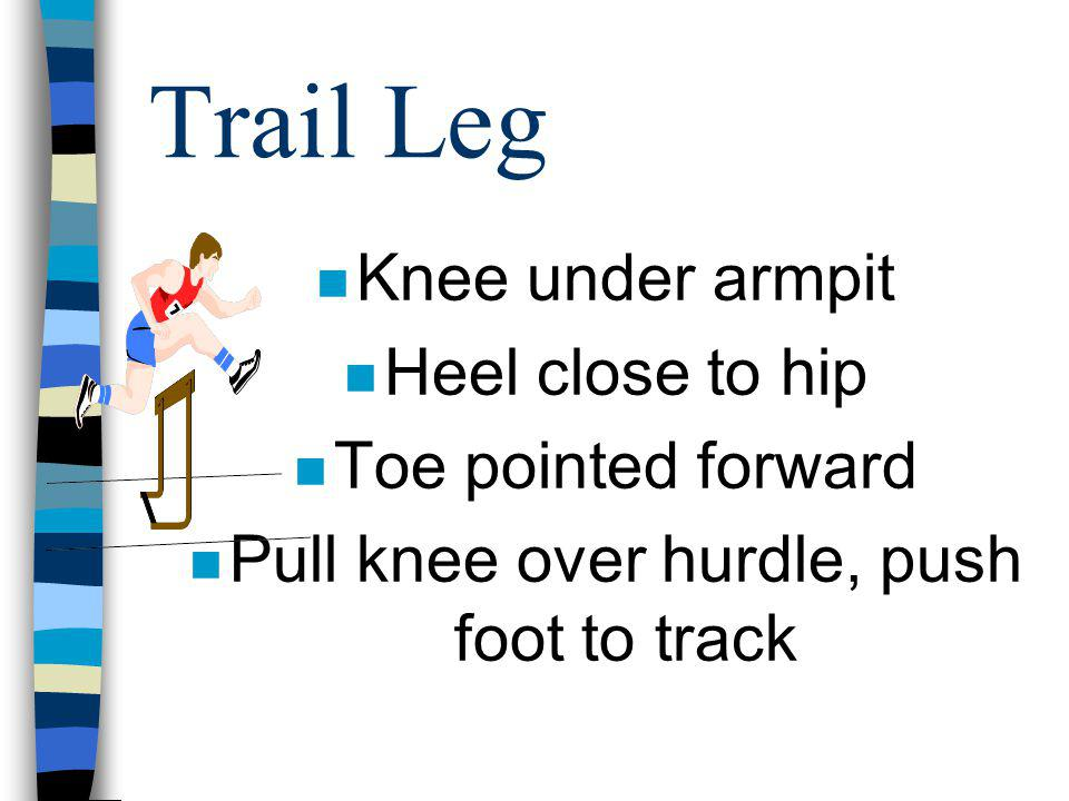 Pull knee over hurdle, push foot to track